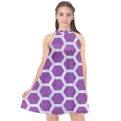 Hexagon2 White Marble & Purple Denim Halter Neckline Chiffon Dress