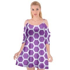 Hexagon2 White Marble & Purple Denim Cutout Spaghetti Strap Chiffon Dress