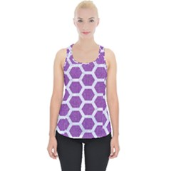 Hexagon2 White Marble & Purple Denim Piece Up Tank Top by trendistuff
