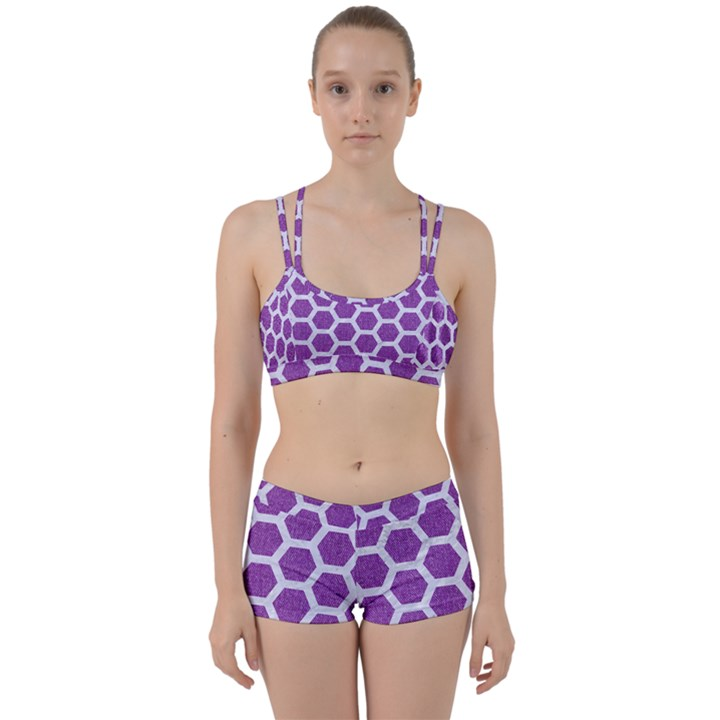 HEXAGON2 WHITE MARBLE & PURPLE DENIM Women s Sports Set