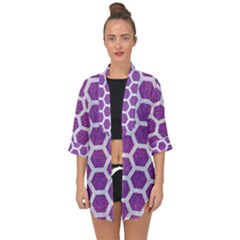 Hexagon2 White Marble & Purple Denim Open Front Chiffon Kimono