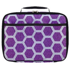 Hexagon2 White Marble & Purple Denim Full Print Lunch Bag