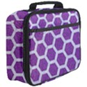 HEXAGON2 WHITE MARBLE & PURPLE DENIM Full Print Lunch Bag View3