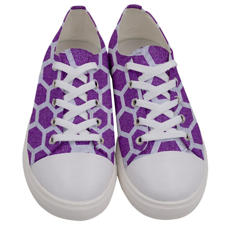 HEXAGON2 WHITE MARBLE & PURPLE DENIM Women s Low Top Canvas Sneakers