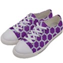 HEXAGON2 WHITE MARBLE & PURPLE DENIM Women s Low Top Canvas Sneakers View2
