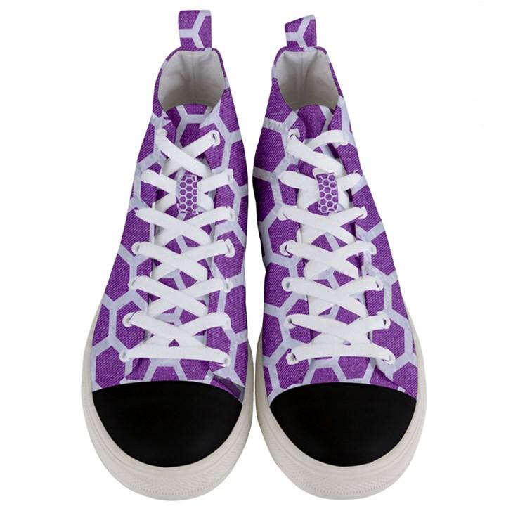 HEXAGON2 WHITE MARBLE & PURPLE DENIM Men s Mid-Top Canvas Sneakers
