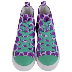 Hexagon2 White Marble & Purple Denim Women s Mid Top Canvas Sneakers