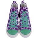 HEXAGON2 WHITE MARBLE & PURPLE DENIM Women s Mid-Top Canvas Sneakers View1