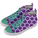 HEXAGON2 WHITE MARBLE & PURPLE DENIM Women s Mid-Top Canvas Sneakers View2