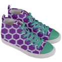 HEXAGON2 WHITE MARBLE & PURPLE DENIM Women s Mid-Top Canvas Sneakers View3