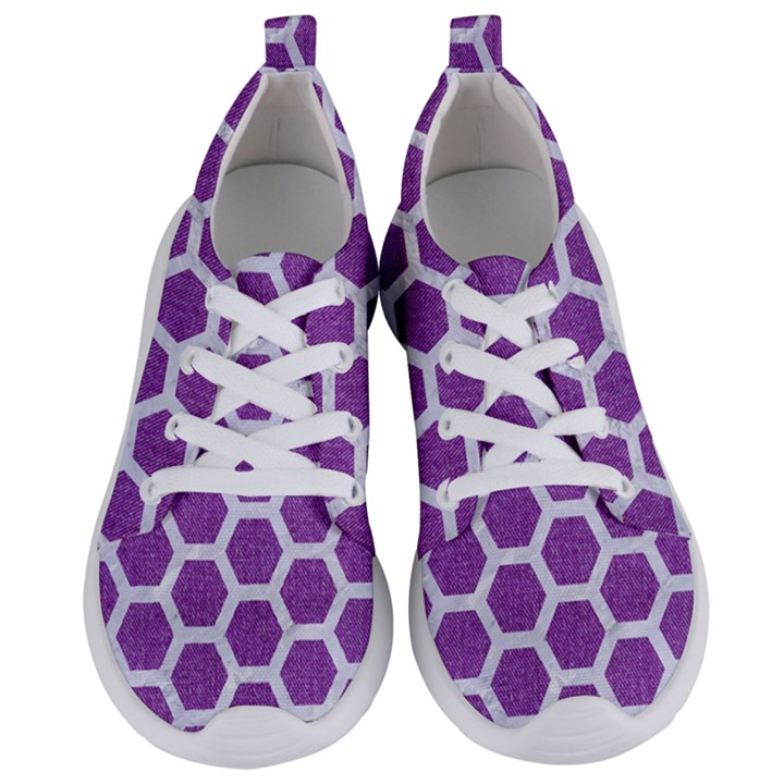 HEXAGON2 WHITE MARBLE & PURPLE DENIM Women s Lightweight Sports Shoes