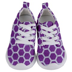 Hexagon2 White Marble & Purple Denim Kids  Lightweight Sports Shoes