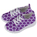 HEXAGON2 WHITE MARBLE & PURPLE DENIM Kids  Lightweight Sports Shoes View2