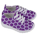 HEXAGON2 WHITE MARBLE & PURPLE DENIM Kids  Lightweight Sports Shoes View3