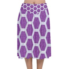 Hexagon2 White Marble & Purple Denim Velvet Flared Midi Skirt