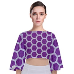 Hexagon2 White Marble & Purple Denim Tie Back Butterfly Sleeve Chiffon Top by trendistuff