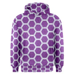 Hexagon2 White Marble & Purple Denim Men s Overhead Hoodie