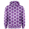 HEXAGON2 WHITE MARBLE & PURPLE DENIM Men s Overhead Hoodie View1