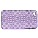 HEXAGON1 WHITE MARBLE & PURPLE DENIM (R) Apple iPhone 4/4S Hardshell Case (PC+Silicone) View1
