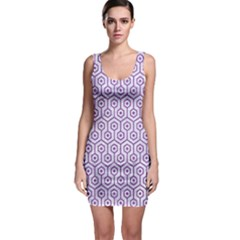 Hexagon1 White Marble & Purple Denim (r) Bodycon Dress