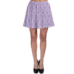 Hexagon1 White Marble & Purple Denim (r) Skater Skirt
