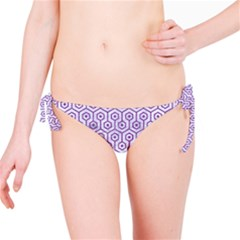 Hexagon1 White Marble & Purple Denim (r) Bikini Bottom