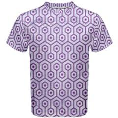 Hexagon1 White Marble & Purple Denim (r) Men s Cotton Tee