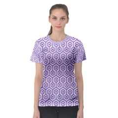 Hexagon1 White Marble & Purple Denim (r) Women s Sport Mesh Tee
