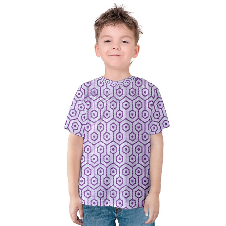 HEXAGON1 WHITE MARBLE & PURPLE DENIM (R) Kids  Cotton Tee