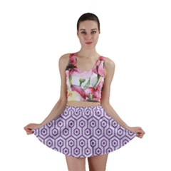 Hexagon1 White Marble & Purple Denim (r) Mini Skirt