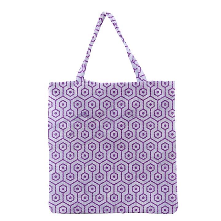 HEXAGON1 WHITE MARBLE & PURPLE DENIM (R) Grocery Tote Bag