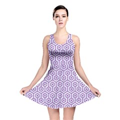 Hexagon1 White Marble & Purple Denim (r) Reversible Skater Dress
