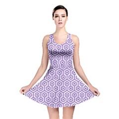 HEXAGON1 WHITE MARBLE & PURPLE DENIM (R) Reversible Skater Dress