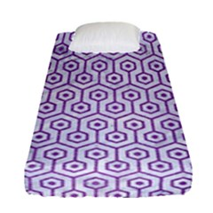 Hexagon1 White Marble & Purple Denim (r) Fitted Sheet (single Size)