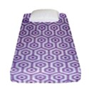HEXAGON1 WHITE MARBLE & PURPLE DENIM (R) Fitted Sheet (Single Size) View1
