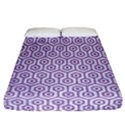HEXAGON1 WHITE MARBLE & PURPLE DENIM (R) Fitted Sheet (California King Size) View1