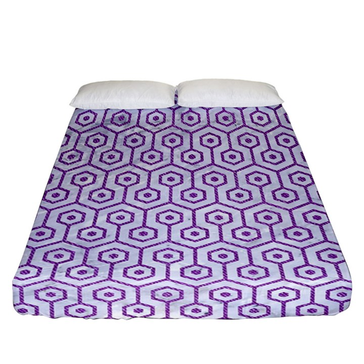 HEXAGON1 WHITE MARBLE & PURPLE DENIM (R) Fitted Sheet (California King Size)