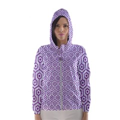 Hexagon1 White Marble & Purple Denim (r) Hooded Wind Breaker (women)