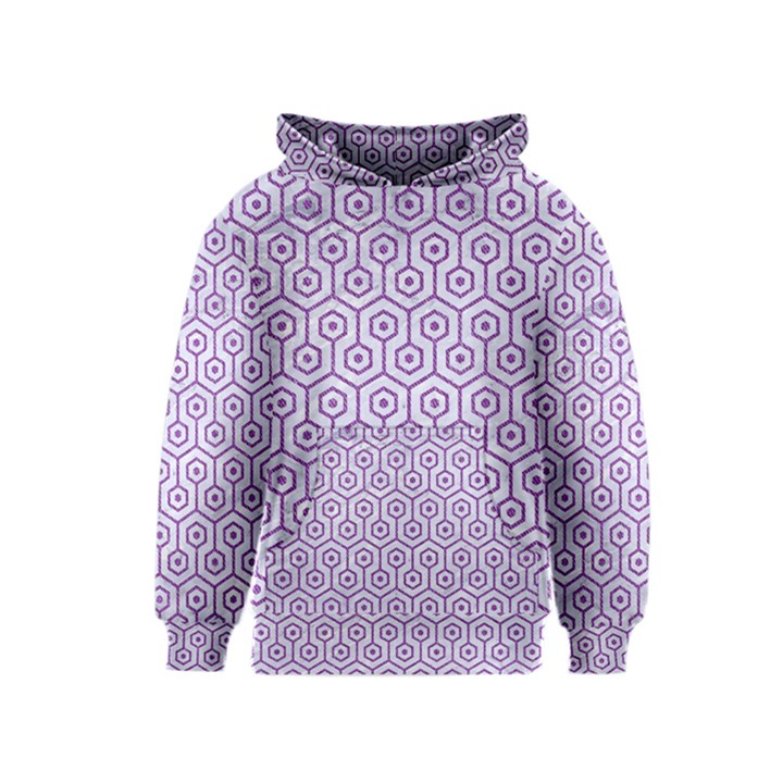 HEXAGON1 WHITE MARBLE & PURPLE DENIM (R) Kids  Pullover Hoodie