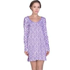 HEXAGON1 WHITE MARBLE & PURPLE DENIM (R) Long Sleeve Nightdress