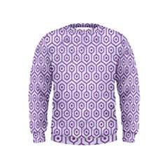 Hexagon1 White Marble & Purple Denim (r) Kids  Sweatshirt