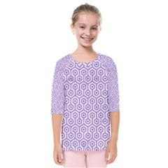 Hexagon1 White Marble & Purple Denim (r) Kids  Quarter Sleeve Raglan Tee