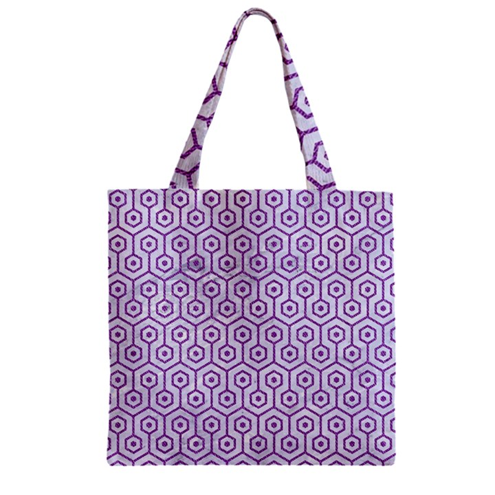HEXAGON1 WHITE MARBLE & PURPLE DENIM (R) Zipper Grocery Tote Bag
