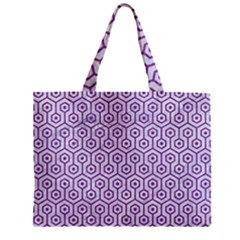 Hexagon1 White Marble & Purple Denim (r) Zipper Mini Tote Bag