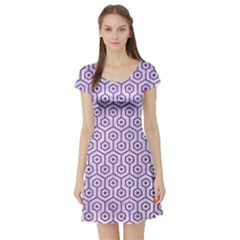 Hexagon1 White Marble & Purple Denim (r) Short Sleeve Skater Dress