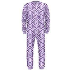 Hexagon1 White Marble & Purple Denim (r) Onepiece Jumpsuit (men)