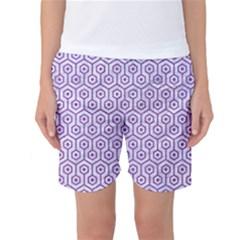 Hexagon1 White Marble & Purple Denim (r) Women s Basketball Shorts