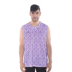 Hexagon1 White Marble & Purple Denim (r) Men s Basketball Tank Top