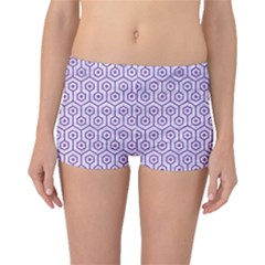 Hexagon1 White Marble & Purple Denim (r) Boyleg Bikini Bottoms