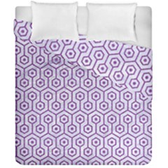 Hexagon1 White Marble & Purple Denim (r) Duvet Cover Double Side (california King Size)